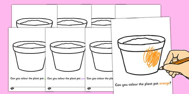 Colouring Plant Pots - Plant pots, garden centre, plants, plant, topic, colour recognition, fine motor skills