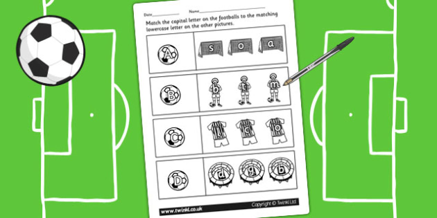 Football Themed Capital Letter Matching Worksheet - uppercase
