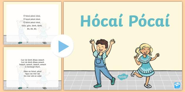 Hócaí Pócaí Song PowerPoint - Gaeilge Song Lyrics, traditional Irish songs, amhrán, tradisiúnta, Hokey Pokey, Hokey Cokey, Hóca
