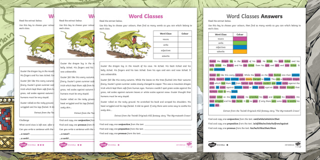 KS2 Word Classes Differentiated Worksheet (KS2 Fantasy Story 'The