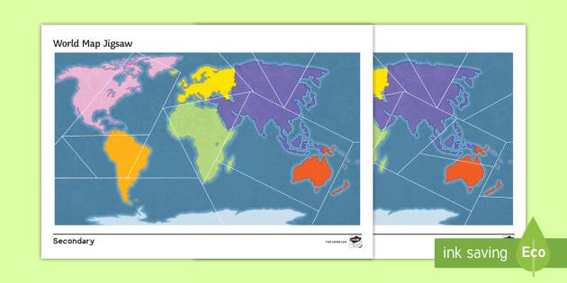World Map Jigsaw Differentiated Worksheet / Worksheet - Map ...
