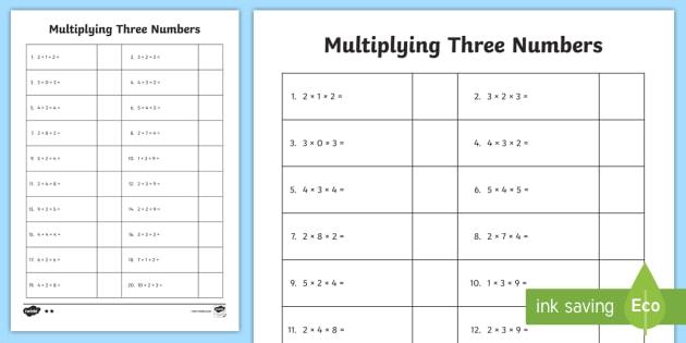 Multiply 3 Numbers Worksheet Worksheet Commutative