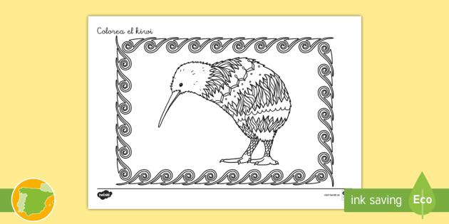 NEW * Hoja de colorear: Colorea el kiwi - Mindfulness, fauna