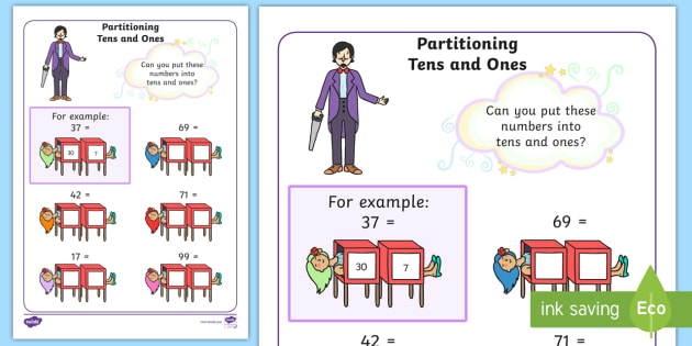 maths magician partitioning worksheet tens and ones  numeracy  maths magician partitioning worksheet tens and ones  numeracy place  value split partition