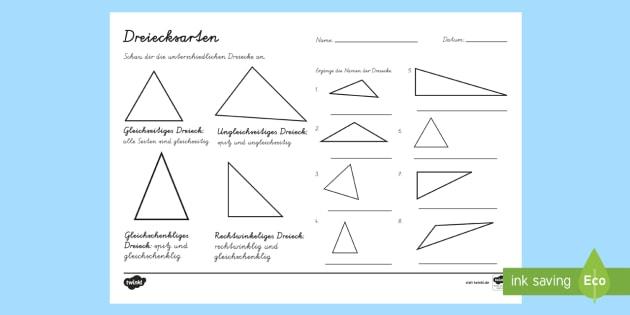 dreiecksarten arbeitsblatt dreieck dreiecke geometrie rechtwinklig. Black Bedroom Furniture Sets. Home Design Ideas