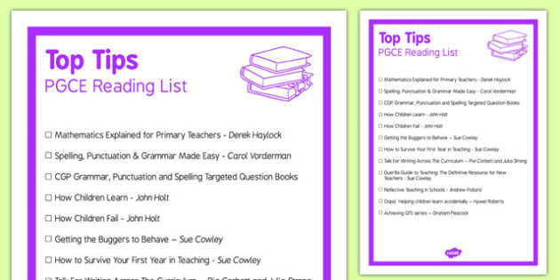 PGCE Reading Top Tips Book List