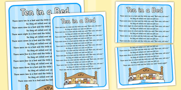 Ten in a Bed Nursery Rhyme Poster - rhymes, display, poems, song