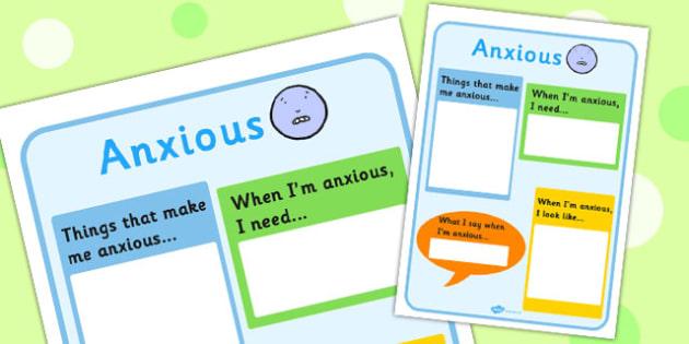 Anxious Chart - feelings, emotions, SEN, class management, charts