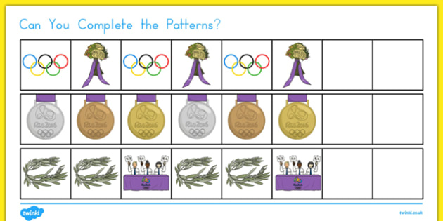 Olympics Complete the Pattern Activity Sheet, worksheet