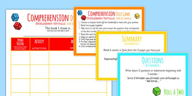 Reading Comprehension Dice Activity Romanian Translation - romanian, reading, comprehension, dice, activity