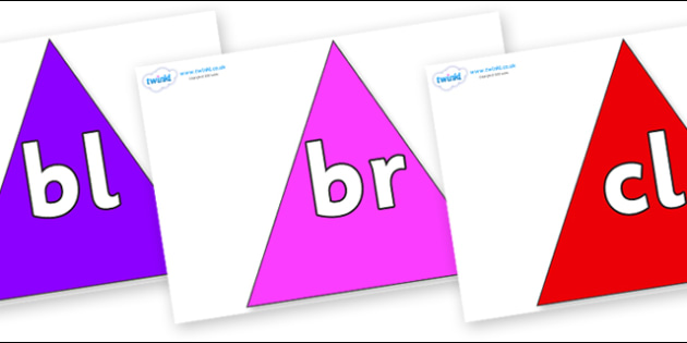 Initial Letter Blends on Triangles - Initial Letters, initial letter, letter blend, letter blends, consonant, consonants, digraph, trigraph, literacy, alphabet, letters, foundation stage literacy