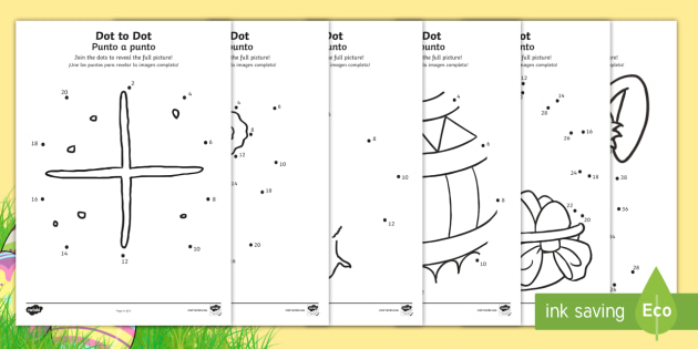 * NEW * Easter Dot To Dot Activity Sheets English/Spanish
