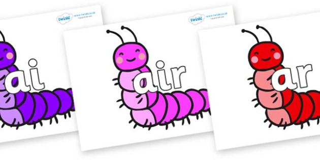 Phase 3 Phonemes on Caterpillars - Phonemes, phoneme, Phase 3, Phase three, Foundation, Literacy, Letters and Sounds, DfES, display