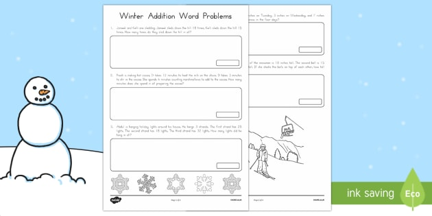 Winter Word Problems Addition Activity