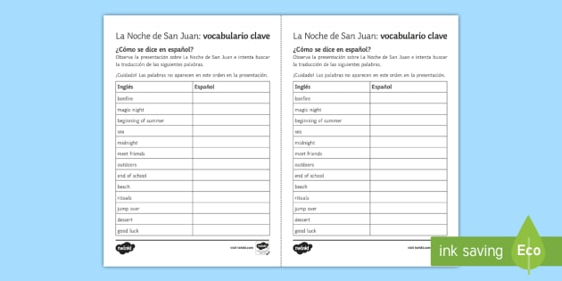 St. John's Eve Key Vocabulary Worksheet / Worksheet Spanish - saint ...