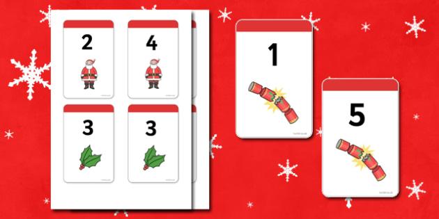 Christmas Number Bonds to 6 Matching Cards - Number Bonds, Matching Cards, Clothing Cards, Number Bonds to 6, Christmas, xmas, tree, advent, nativity, santa, father christmas