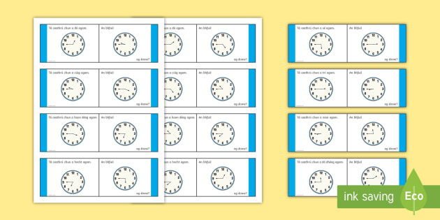 Time, Quarter to Loop Cards - Requests - ROI, Irish, Gaeilge, Time, am, an t-am, clock, an chlog, clog, quarter to, ceathrú chun,
