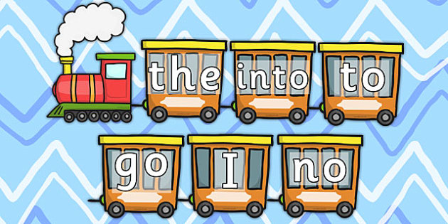 Phase 2 Phonics Tricky Words Train - phase two, visual aid