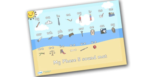 Seaside Themed Phase 5 Sound Mat - seaside, the seaside, at the beach, seaside sound mat, phase 5 seaside sound mat, beach sound mat, phonics, sounds