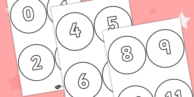 Numbers 0-31 on Circles 4 per page - numbers, circles, math