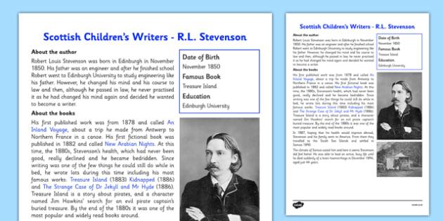 Scottish Children's Writers RL Stevenson Information Sheet - CfE, Literacy, Scottish Children's Writers, R.L Stevenson, Treasure Island, Kidnapped