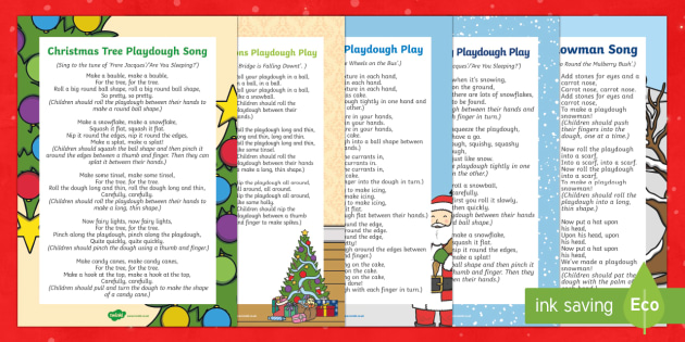 Christmas Themed Playdough Play Songs and Rhymes Resource Pack - EYFS, Early Years, Christmas, winter, Christmas tree, Christmas decorations, Christmas cake, snow, s