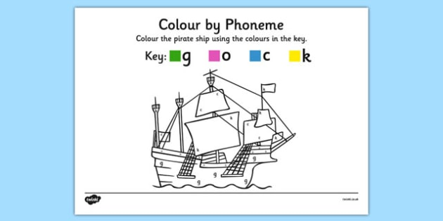 Colour by Phoneme Pirate Ship Phase 2 g o c k - colour, phonemes, pirate ship, phase 2, satpin