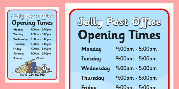 Post Office Collection Times >> Free Jolly Post Office Role Play Opening Times To Support