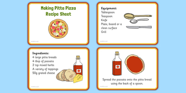 Making Pitta Pizza Recipe EYFS Recipe Cards - EYFS ...