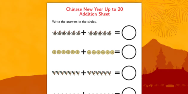Chinese New Year Story Up to 20 Addition Sheet - addition, sheet