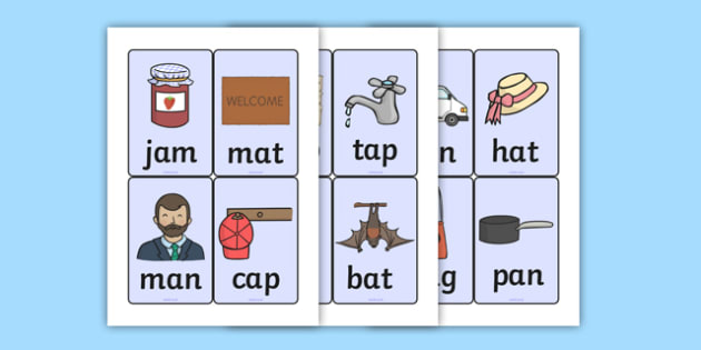 CVC Word Cards A - CVC, CVC words, visual aids, flash cards, A
