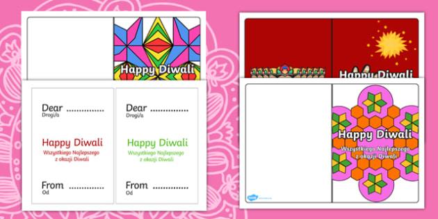 Diwali Card Templates English/Polish