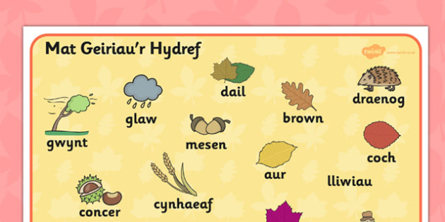 Autumn Word Mat Welsh Translation - seasons, visual aid, wales