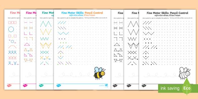Fine Motor Skills: Pencil Control on Dotted Worksheets - English / Hindi