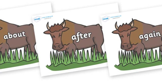 KS1 Keywords on Bison - KS1, CLL, Communication language and literacy, Display, Key words, high frequency words, foundation stage literacy, DfES Letters and Sounds, Letters and Sounds, spelling