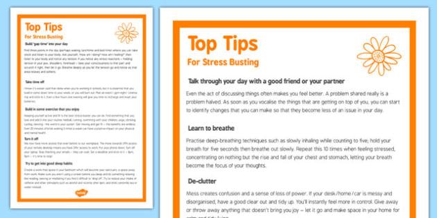 Top Ten Stress Busting Tips - top ten, stress busting, tips, top, ten, stress, busting