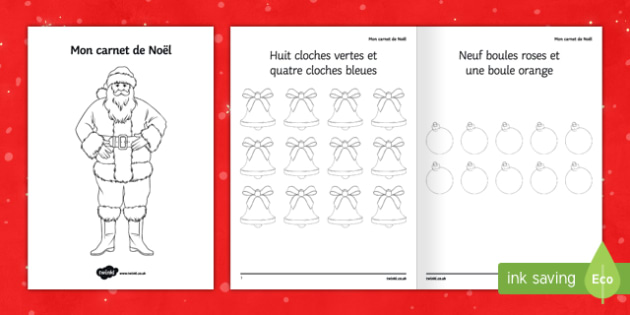 My Christmas Notebook Colouring Activity Sheet-French
