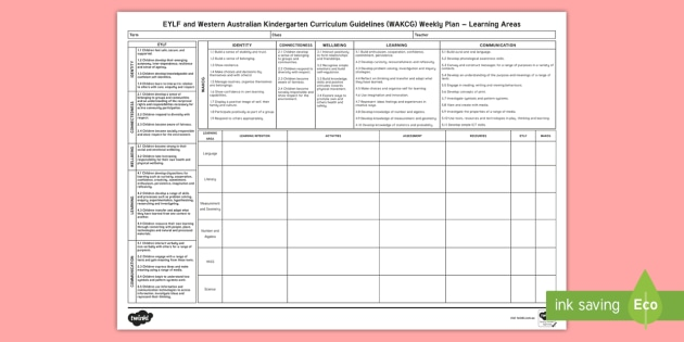 picture regarding Weekly Planning Sheets known as EYLF and WAKCG Weekly Coming up with Template - Western Australia