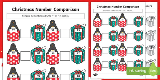 Christmas Themed up to 100 Number Comparison Worksheet / Activity Sheet