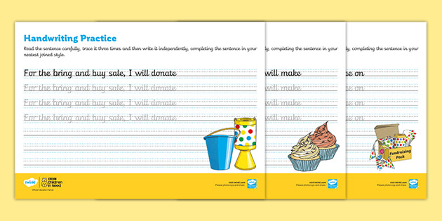 FREE! - KS2 BBC Children In Need Joined Handwriting Practice Sheets