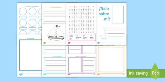 Todo sobre mí Cuadernillo - transition, primaria, primer grado, segundo grado, comienzo de clases, inicio del año escolar, tran