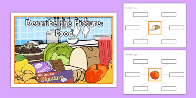 Describe the Picture: Food - describe, picture, food, sen, label