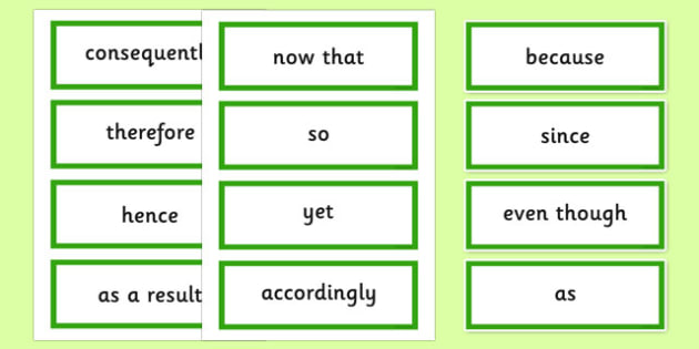 Causal Conjunctions Word Cards - casual conjunctions, Connectives