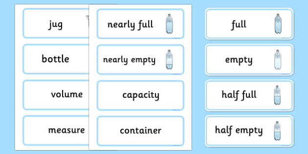 Capacity Word Cards - capacity, measure, measuring, word cards
