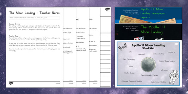 Apollo 11 Moon Landing Report Teaching Pack - australia, moon landing