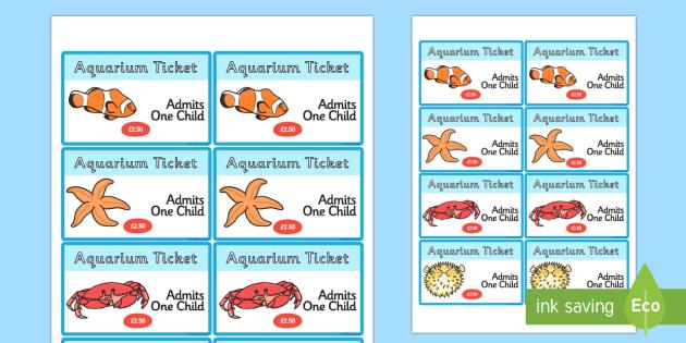 The Aquarium Role Play Tickets - aquarium, role, play, role play, tickets, aquarium tickets, role play tickets, tickets to aquarium, aquarium role play
