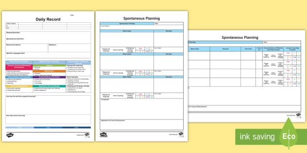 EYFS Retrospective Planning Templates Pack - Planning template