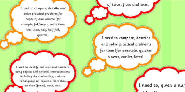 2014 Curriculum Year 1 Maths Assessment I Need To Thought Bubbles
