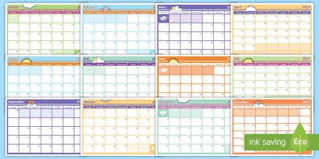 NEW * 2019 Jahreskalender - Kalender, Jahreszeiten, Tage