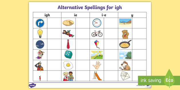 Alternative Spellings igh ie i-e y Table Worksheet - igh, ie ...